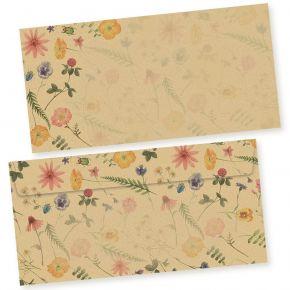Flora-Natura Briefumschläge Vintage Blumen Floral 50 Stück DIN lang Umschläge selbstklebend ohne Fenster nachhaltig gedruckt