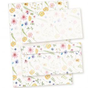 Briefpapier Set Flora-Bianca (40-tlg.) Vintage mit Blumen 1 Schreibblock liniert mit 25 Blatt + 15  Briefumschläge