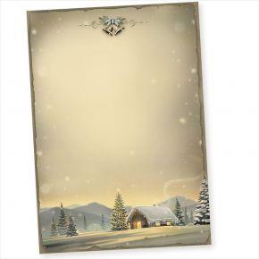 Glöcknerhütte 50 Blatt Briefpapier Weihnachten A4, Weihnachtsbriefpapier Nostalgie