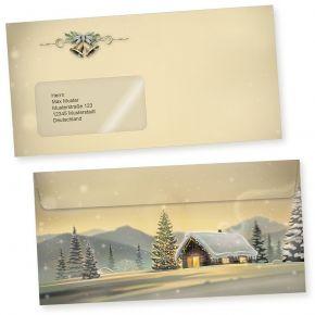 Glöcknerhütte 50 Weihnachts-Briefumschläge Din lang mit Fenster Umschläge für Weihnachten selbstklebend haftklebend