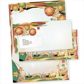 Art Deco 10 Sets Weihnachtsbriefpapier mit Fensterumschlag, Briefpapier Weihnachten A4