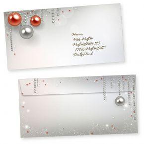 Gala Design 50 Weihnachts-Briefumschläge Din lang ohne Fenster Umschläge für Weihnachten selbstklebend haftklebend