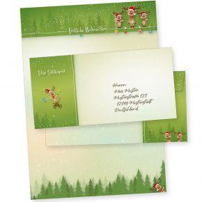 NEU Rentiere 10 Sets Weihnachtsbriefpapier mit Umschlag ohne Fenster, Weihnachtspapier A4