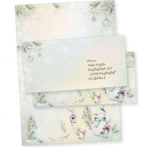 Flöckchen 100 Sets Weihnachtsbriefpapier mit Umschlag ohne Fenster, Briefpapier Weihnachten A4