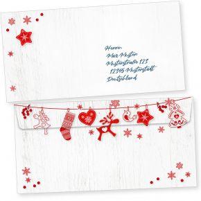Julfest 50 Weihnachts-Briefumschläge Din lang ohne Fenster Umschläge für Weihnachten selbstklebend nordisch, schwedisch
